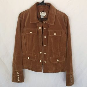 Brown suede jacket with snap buttons